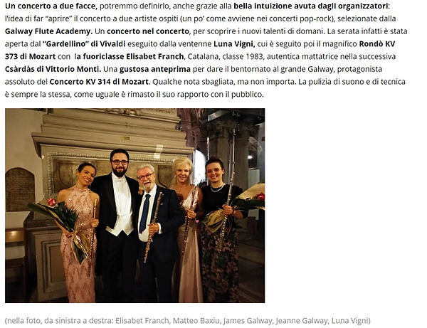 Review from CD Classico.com of Elisabet Franch Performance feature James Galway, Jeanne Galway, and Luna Vigni