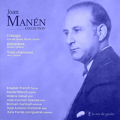 Picture of Joan Manén with a purple overlay and list of artist names on Joan Manén Collection album