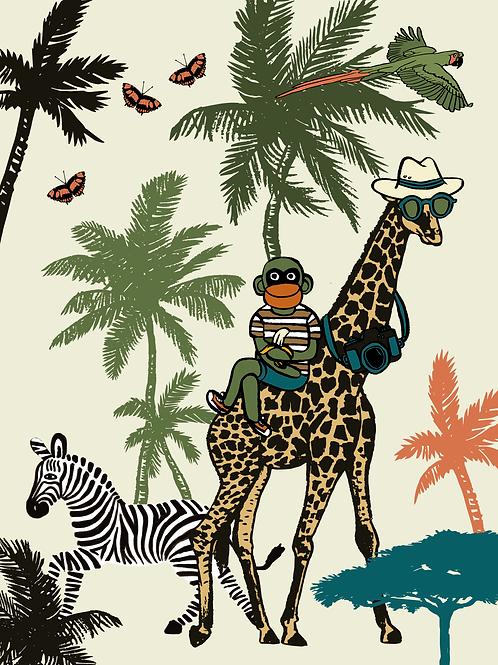 Canvas Aap en Giraffe