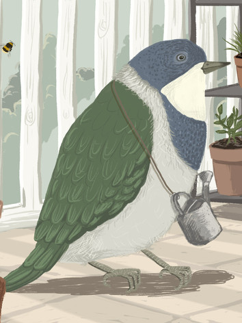 Illustratie 'balkonbird'