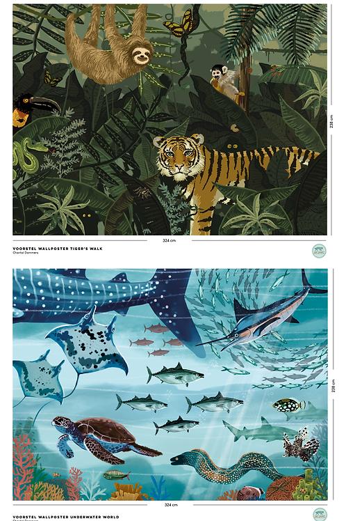 Wallposter Tiger's Walk & Wallposter Underwater World - Chantal Dammers