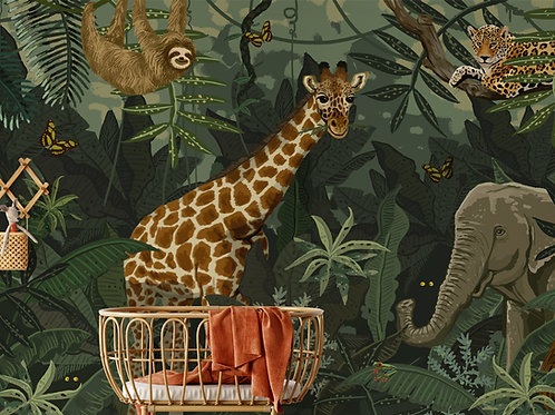 Wallposter Giraffe lost in the jungle