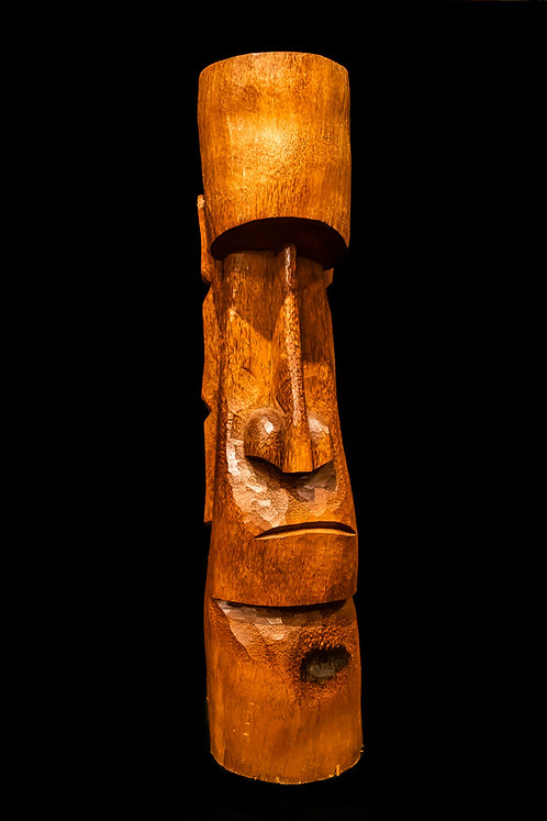 "40"" RAPA NUI MOAI - EASTER ISLAND Hand-carved from Coconut Tree"