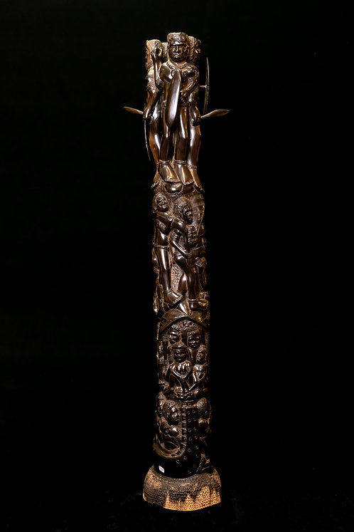 SOLID KING EBONY TOWER DEPICTING THE HEAD-HUNTING CANNIBAL ERA IN THE SOLOMONS