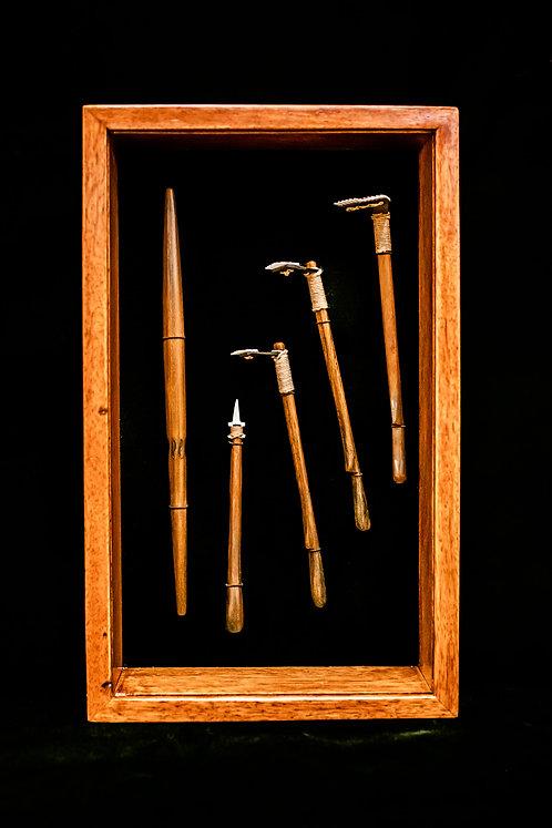 Traditional PolynesianTattoo tools in koa shadow box