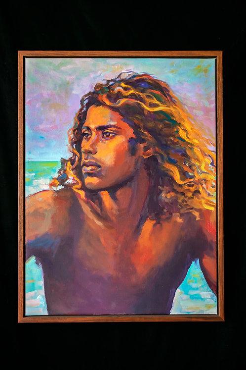 Artist Isa Maria original oil painting of Kauai Beach Boy