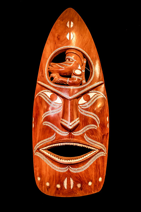 ROSEWOOD WARRIOR MASK WITH NGUZU NGUZU - SOLOMON ISLANDS