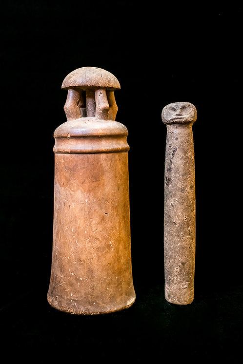 "RARE ANTIQUE MORTAR AND PESTLE – SOLOMON ISLANDS – EARLY 1900 ERA – ""KATO"""