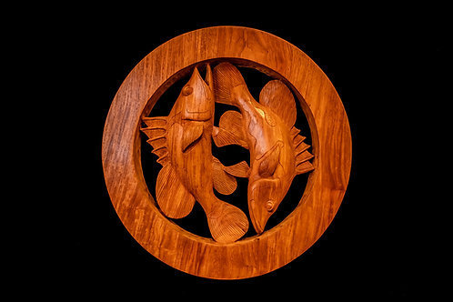 TWO FISH IN A ROUND FRAME - SOLOMON ISLANDS Wood carving