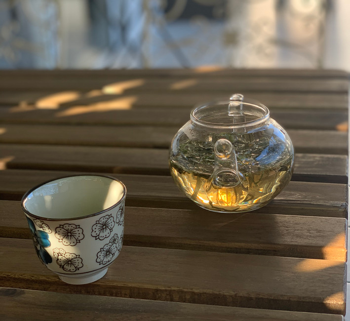 Pot of tea on patio