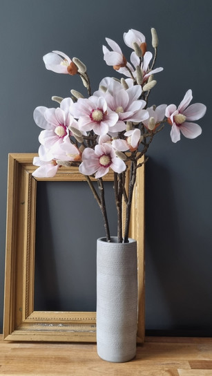 spring magnolia in tall pottery vase