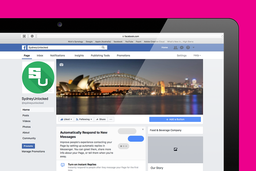 Sydney Unlocked Facebook page zoomed