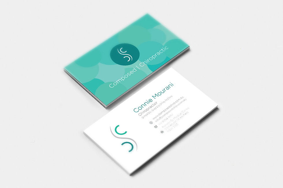 Colourblind design Composed Chiropractic business card
