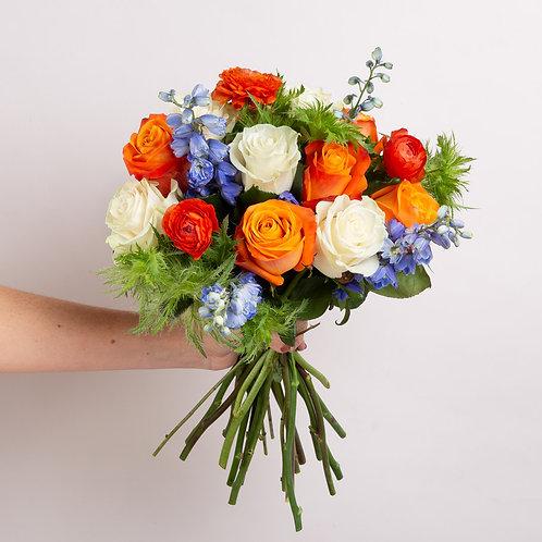 Illini Orange and Blue fresh flower bouquet