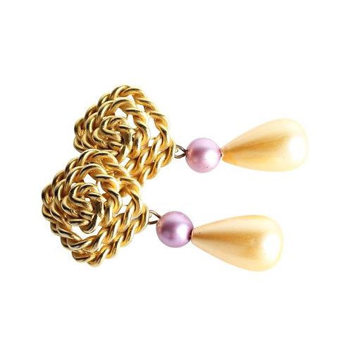 LES BERNARD Faux Pearls Teardrop Earrings