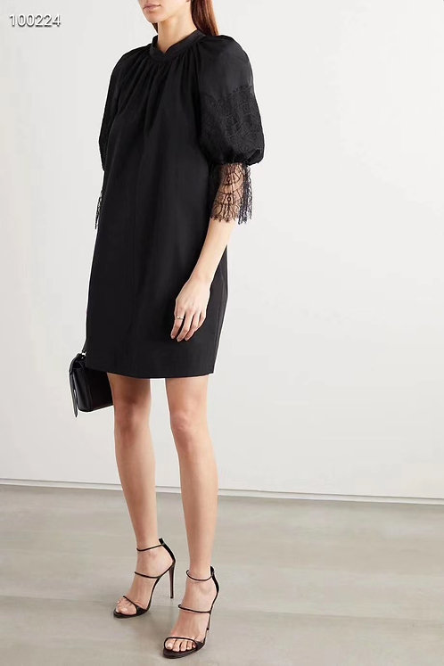 Black Dress with Lace Cuff