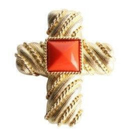 LES BERNARD Cross Amber Stone Brooch