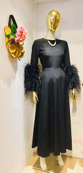 100% Silk Evening Dress w/ Feather