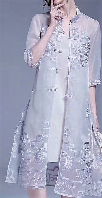 Organza Long Cardigan Mandarin Collar w Embroidery