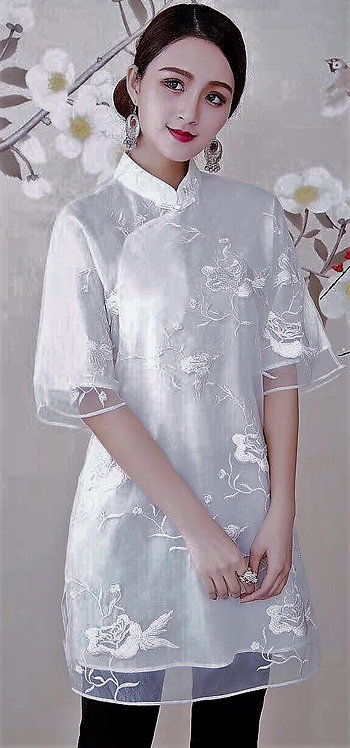 Organza Tunic Mandarin Colar with Embroidery