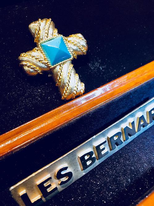 LBNL-008 24 karat gold Les Bernard broach with turquoise