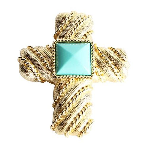 LES BERNARD Cross Turquoise Stone Brooch