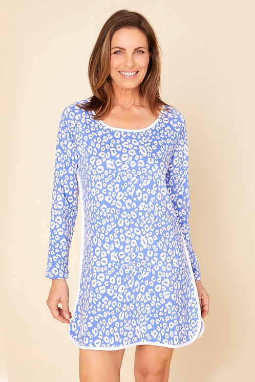 Florida Lounge Print Long Sleeve Night Sleep Shirt