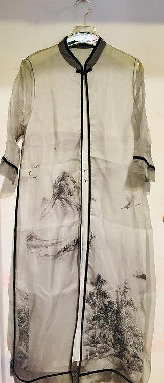 Organza Long Cardigan with Sleeveless long Dress Set