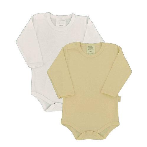Kit 2 Bodies Bebê Manga Longa- Baby Fashion-Branco e Amarelo