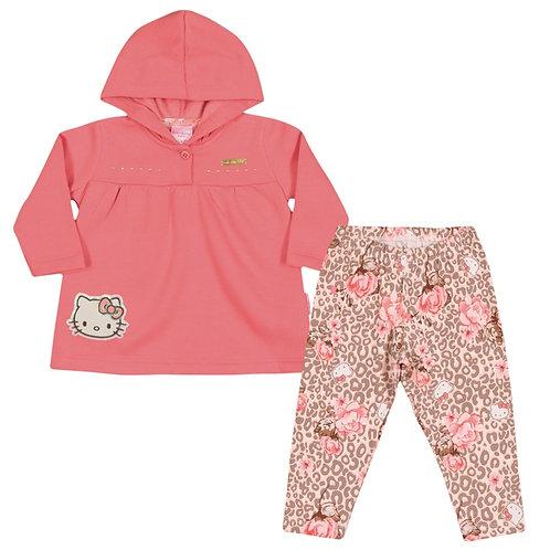 Conjunto Moletom Com Capuz Para Bebê - Coral - Hello Kitty