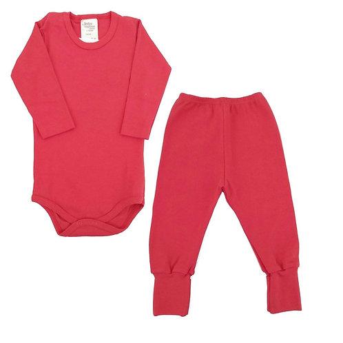 Conjunto Body e Calça Bebê Ursinho- Baby Fashion - Vermelho