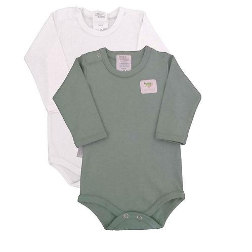 Kit 2 Bodies Bebê Manga Curta- Baby Fashion - Branco e Verde