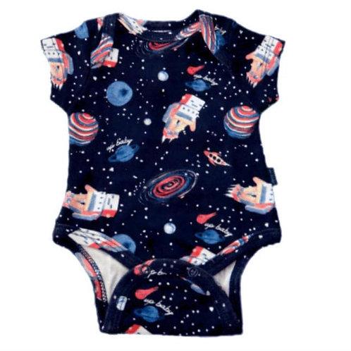 Body Manga Curta Espaço - Marinho - Up Baby