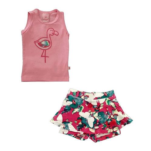 Conjunto Com Short Saia E Blusa Flamingo - Rosa  - Abrange