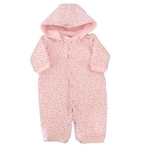 Pijama Macacão Bebê Matelasse Estrela - Baby Fashion - Rosa