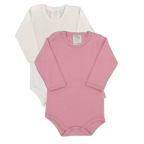 Kit 2 Bodies Bebê Manga Longa- Baby Fashion - Rosa Claro