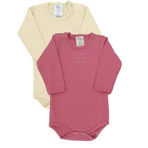 Kit 2 Bodies Bebê Manga Longa- Baby Fashion - Pink e Creme
