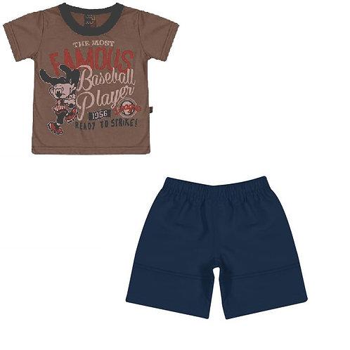 Conjunto Bermuda E Camiseta Baseball- Marrom -loopy De Loop