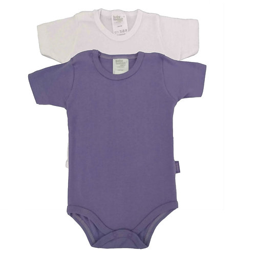 Kit 2 Bodies Bebê Manga Curta - Baby Fashion - Branco e Roxo