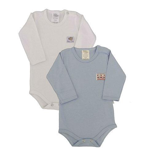Kit 2 Bodies Bebê Manga Longa- Baby Fashion -Azul e Marfim