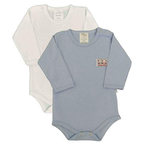 Kit 2 Bodies Bebê Manga Longa- Baby Fashion - BrancoAzul