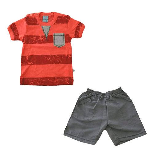 Conjunto Bermuda E Camiseta - Rouge E Indigo - Abrange