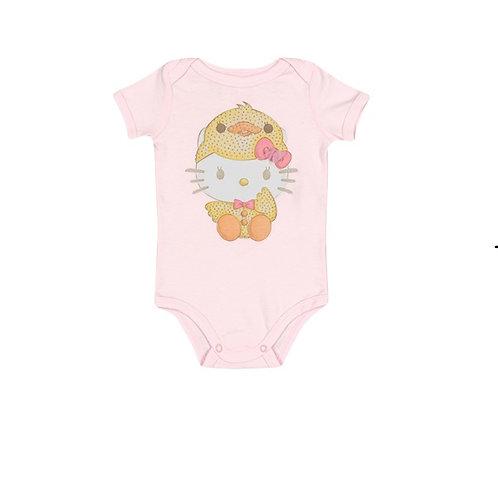 Body Manga Curta Em Suedine - Rosa - Hello Kitty