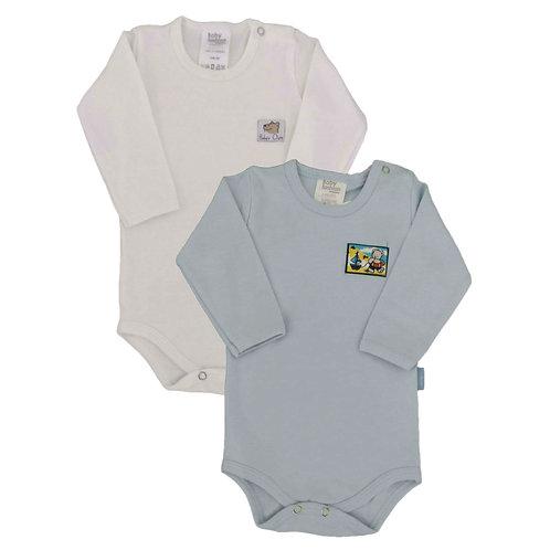Kit 2 Bodies Bebê Manga Longa- Baby Fashion - Creme e Azul