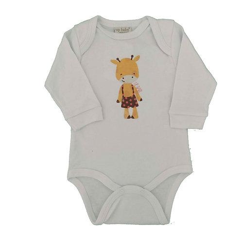 Body Manga Longa Suedine Girafinha - Up Baby - Branco