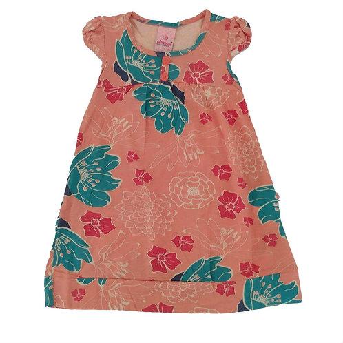 Vestido Infantil em Viscose Florido - Abrange - Salmão
