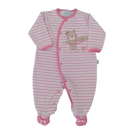 Macacão Bebê Algodão Ursinha - Rosa Listrado - Piu Piu