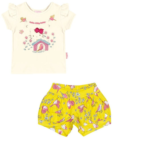 Conjunto Short E Blusa - Amarelo - Hello Kitty