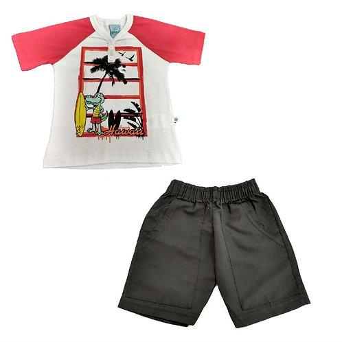 Conjunto Infantil Bermuda E Camiseta Beach - Abrange