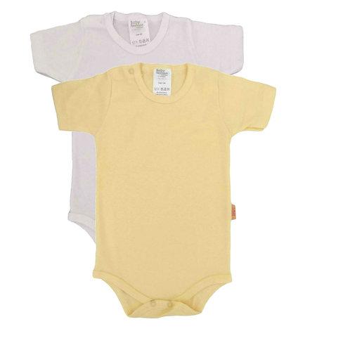 Kit 2 Bodies Bebê Manga Curta - Baby Fashion -  Amarelo